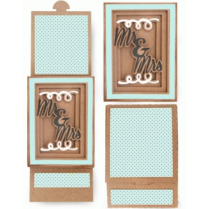 mr. and mrs. shadow box sliding card
