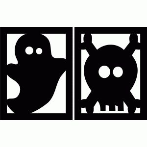 halloween flags - ghost and skull