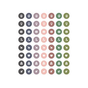 rose, slate & moss icon planner stickers