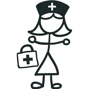 stick figures - girl nurse