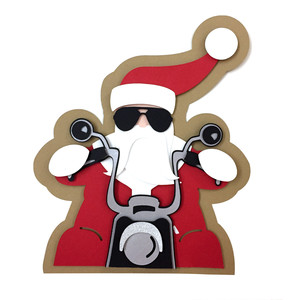 santa claus motorcyclis card