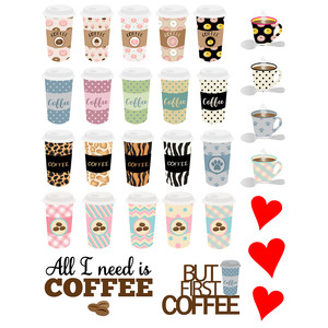 coffee cup prints stickers