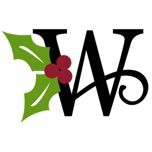 christmas holly monogram - w