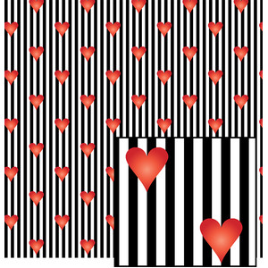 black stripes with red hearts pattern