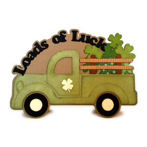 truck loads of luck shaped 5x7 card