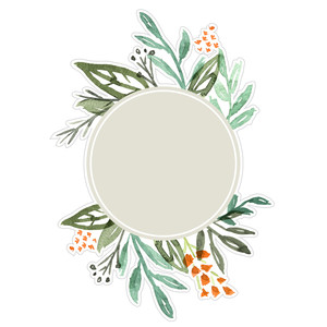 watercolor floral circle