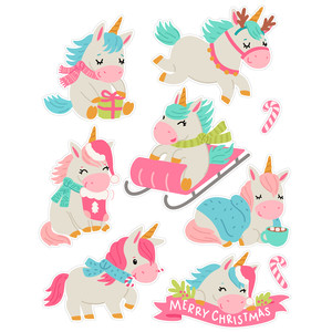 christmas unicorn stickers