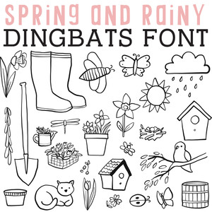 cg spring and rainy dingbats