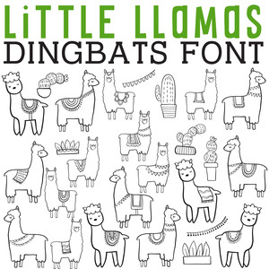 cg little llamas dingbats