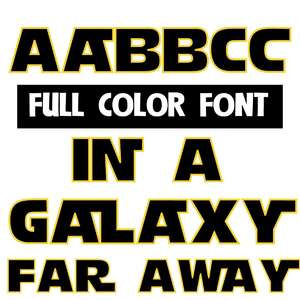 in a galaxy far away color font