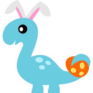 brontosaurus bunny ears and easter egg