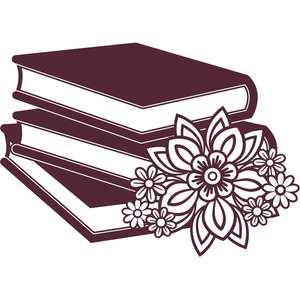 floral book stack