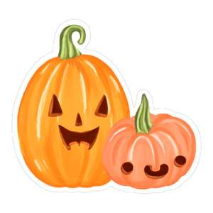 kawaii jack-o-lanterns smiling