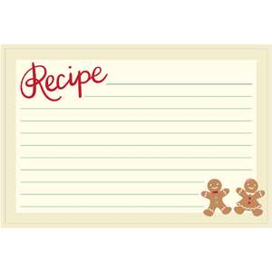 holiday cookbook recipe card gingerbread