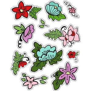 ml flowery christmas stickers