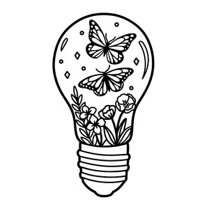 butterflies in light bulb