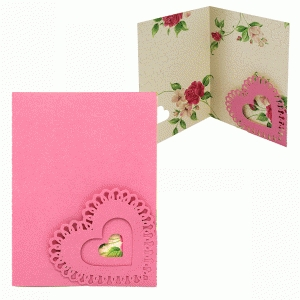 card lace heart corner pocket