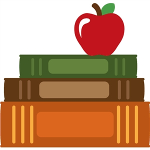 books stacked with apple