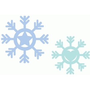 set of 2 heart and star snowflakes