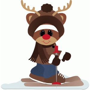 skiing rudy the reindeer