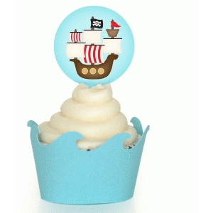ship and wave cupcake wrapper