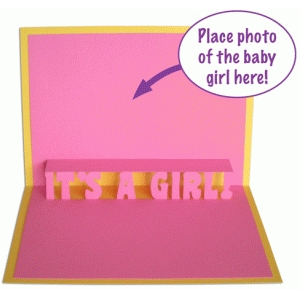 it's a girl! pop-up card