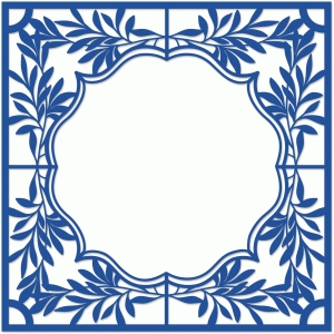 delft inspired leaf tile papercut