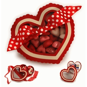 ribbon tied heart see-thru lid box