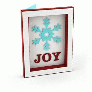 3d frame card joy snowflake