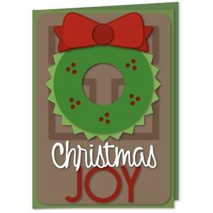 christmas joy wreath card