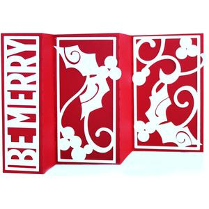 accordion fold card - be merry