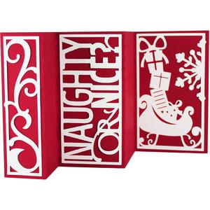 accordion fold card - naughty or nice santa sleigh