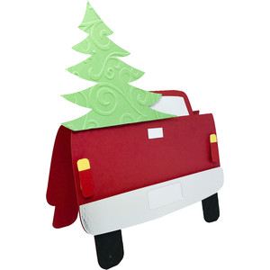 truck christmas tree card