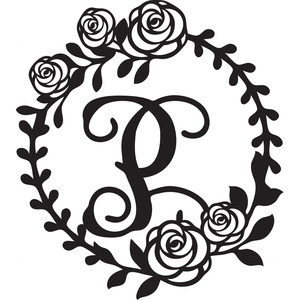 floral wreath alphabet p