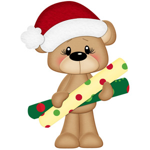 christmas bear with wrapping paper