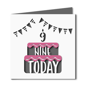 9 today cake cutout birthday card