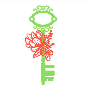 fancy key with flowers