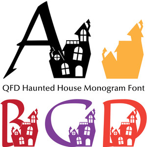 qfd haunted house monogram font
