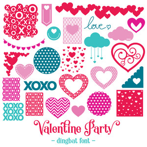 valentine party dingbat font