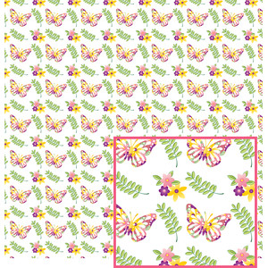 pastel butterfly and flowers pattern