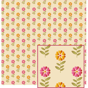 folk art-look flowered pattern