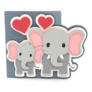 baby elephant and mom card
