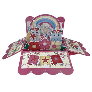 unicorn pop up card in a box