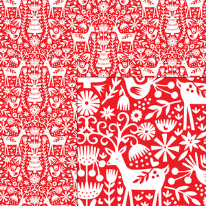 nordic holiday red and white reindeer pattern