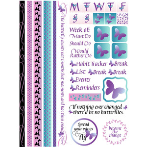 butterfly bullet journal & planner washi quote stickers