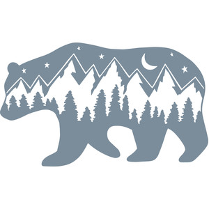 mountain scene bear