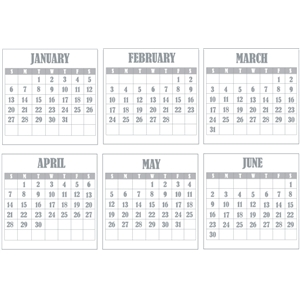 2013 calendar - part 1 january - june