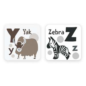 animal alphabet cards y to z