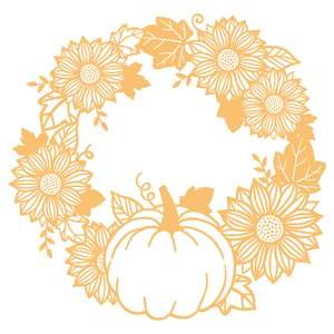 elegant sunflower and pumpkin wreath