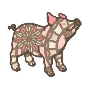 pig farm animal multi layer mandala